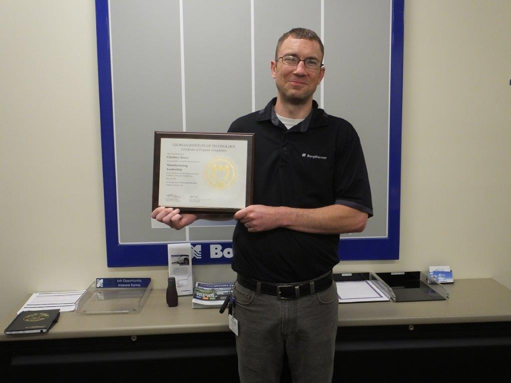 Chantrey Reece - materials handler for BorgWarner receives the first Manufacturing Leadership Certificate by GaMEP at Georgia Tech