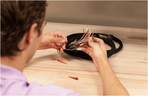 Student using wires